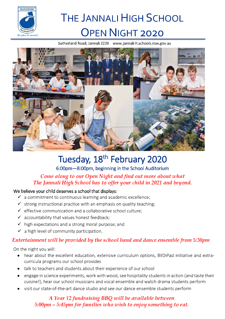 Open Night 2020 - Tuesday, 18 February
